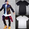 Крис браун мужчины расширенный золотой молнии боковой мужчины футболку хлопок твердые мужская топы хип-хоп белый черный тис плюс размер M/L/XL/XXL