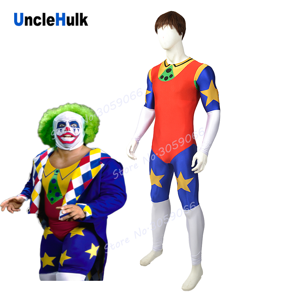 Doink The Clown Wrestling Costume - Multicolor Spandex Lycra Zentai Suit with Coat | UncleHulk