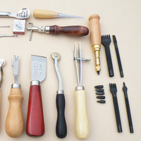 18PCS Leather Craft Punch Tool Kit Stitching Engraving Work Sewing Handmade Leather DIY Hand Sewing Kit
