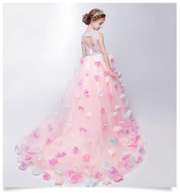 Платья для девочек на свадьбу glizt аппликации Обувь для девочек розовый Кружево длинное свадебное платье праздничное платье принцессы детская одежда