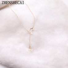 Moon Star Chain Necklace Fashion jewelry 2017 gold color long pendant simple necklace for women girl bijoux gift x13(China)