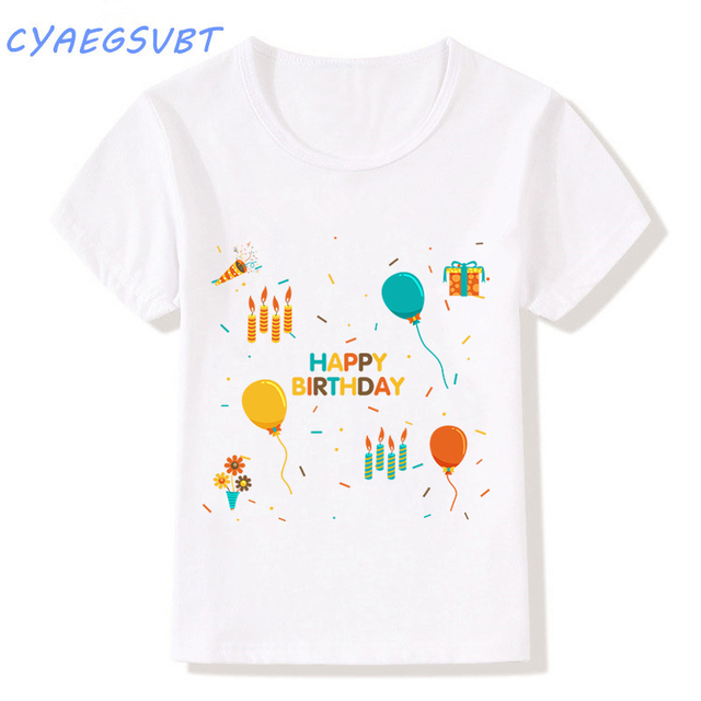 2018 summer t shirt baby boys girls kawaii balloon happy birthday letter printed tees basic