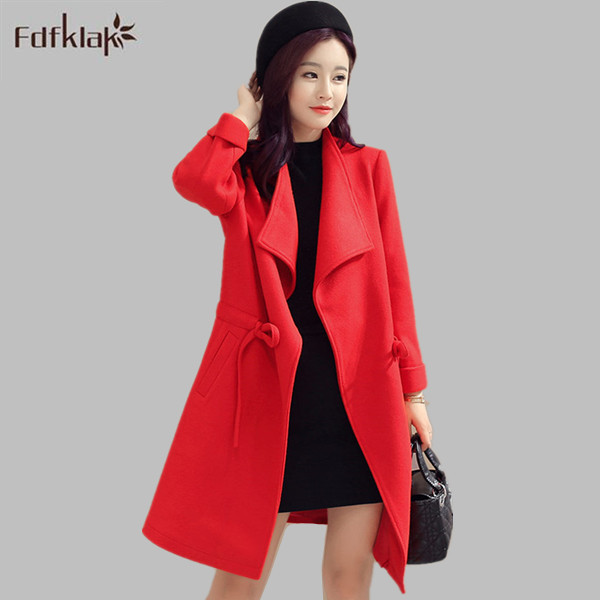 4f3b0101a631a Korean Fashion Coats 2017 Women Woolen Coat Winter Slim Breasted Overcoat  Winter Coats Long Outer Plus Size M-4XL E0721