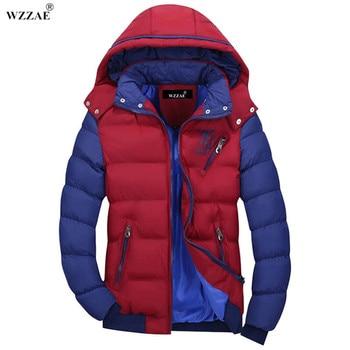 WZZAE 2018 męska marka zima ciepły płaszcz kurtka płaszcz kurtka mężczyźni na co dzień mężczyźni z kapturem bawełny kurtka darmowa wysyłka MY201