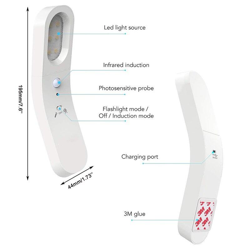 6 LED Motion Sensor Light PIR USB Rechargeable LED Wall Lamp 360 Degree Warm Night Light Wireless Portable Emergency Flashlight