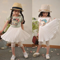 New 2016 summer Style Toddler Girl Clothing Dress Cute Girl Cartoon Cat Cotton Chiffon pleated Dress Kids Dresses For Girls
