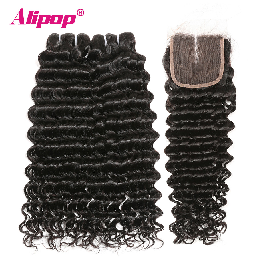 Deep Wave With Closure Remy Hair Bundles And Closure Human Hair Bundles With Closure Hair Vendors