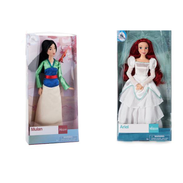2682e796a9 DISNEY Store Animated cartoon Mulan with Mushu The Little Mermaid - Ariel  Wedding Dress Classic princess Doll Figure toys gift