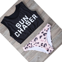2018 New Letter Printed Bikini Set Women Vest Bikinis Sexy Tankini Sports Style Swimwear Women Bathing