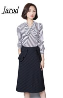 Jarod 2 Piece Set Autumn Women 2017 Fashion Sexy Bowknot Stripe Knitting Striped Crop Tops Black