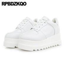 67195d9a Женские с круглым носком muffin кроссовки белый клин chic harajuku Китай  creepers обувь на платформе увеличивающая рост на шнуро.