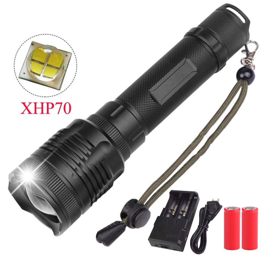 40000Lumes XHP70 LED Flashlight XHP50 convoy lens 40W chip Lamp 2*26650 Powerful Tactical LED Flash light torch Zoom LED Torch