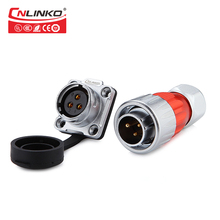 Cnlinko Zinc Alloy Shell M20 Industry 500V 12A Power Connector 3 pin Waterproof LED Connector with Dust Cover Male Female Socket