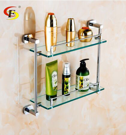Us 1275 Free Shipping Brass Double Glass Shelf Hotel Use Bathroom Shelf For Modern Kitchen In Bathroom Shelves From Home Improvement On