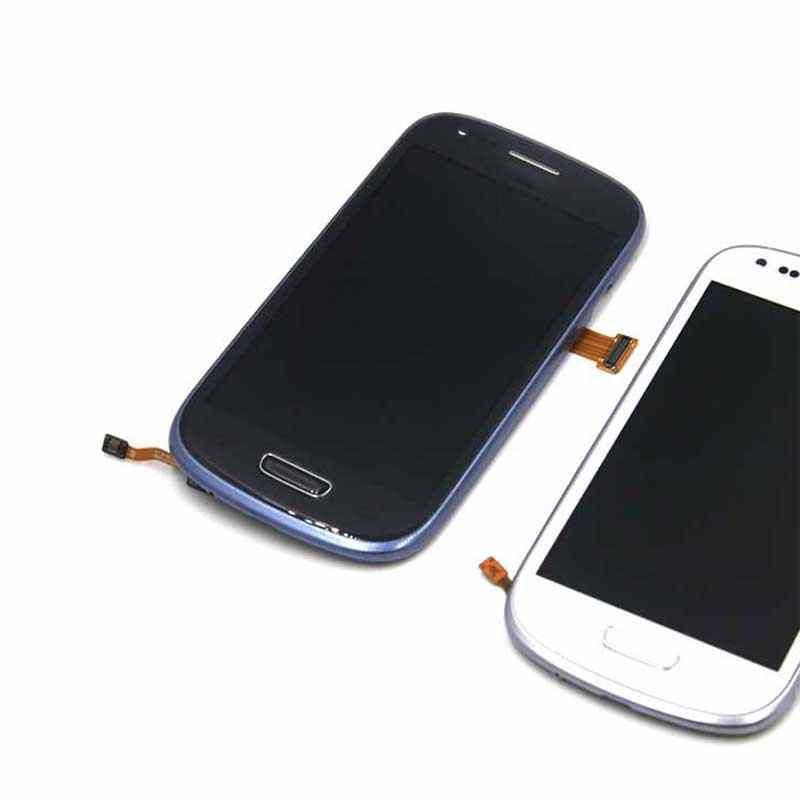 AAA الأبيض الأزرق لسامسونج غالاكسي S4 البسيطة i9195 i9190 i9192 شاشة الكريستال السائل مجموعة المحولات الرقمية لشاشة تعمل بلمس + الإطار الحافة ، اختبار جيدا