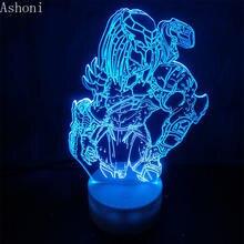3d фигурка хищника ночник визуальная иллюзия светодиодный меняющий