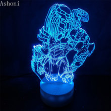Predator Action Figure 3D Nightlight Visual Illusion LED Changing Anime Alien vs Wolf Predator Lighting Model Christmas Gift цена