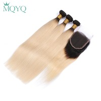 MQYQ 2 Tone Ombre Straight Human Hair Bundles With Closure 1B 613 Blonde Hair Weave With Lace Closure Indian Hair Extensions