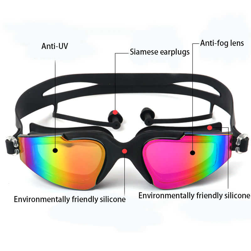 المهنية نظارات الوقاية للسباحة السباحة غطاء مشبك الأنف سيليكون مكافحة الضباب UV متعدد الألوان الكبار السباحة الرياضة نظارات مجموعة