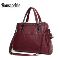 Bonsacchic Brand Artificial Leather Bags Women Handbags Luxury Handbags Women Bags Designer Red Tote Bag Ladies