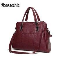 Bonsacchic Brand Artificial Leather Bags Women Handbags Luxury Handbags Women Bags Designer Red Tote Bag Ladies