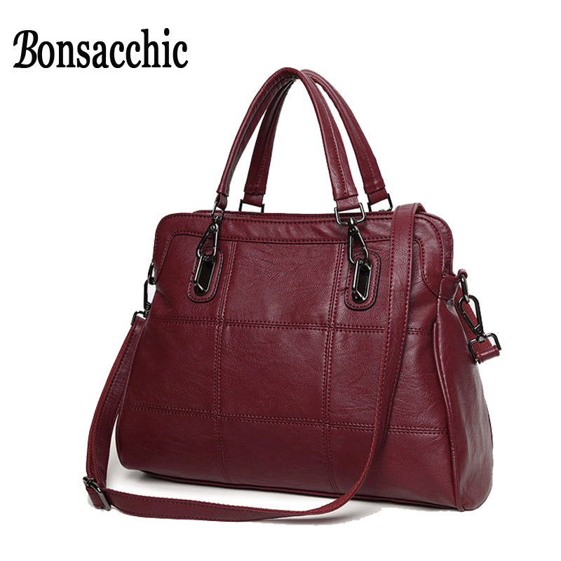 Bonsacchic Red Artificial Leather Bags Women Handbags Luxury Handbags Women Bags Designer Black Women's Bag Sales Ladies Handbag
