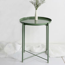 Mesa de centro pequeña de Metal de estilo nórdico, mesa de té lateral para sala de estar, muebles simples para el hogar