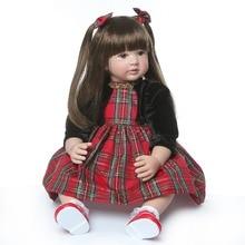 NPK 60cm Silicone Reborn Baby Dolls Baby Doll Alive Realistic Boneca Bebes Lifelike Real Girl Doll Reborn Birthday Christmas