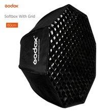 Godox – boîte à lumière parapluie Portable 80cm, réflecteur octogonal avec grille, boîte à lumière en nid dabeille pour TT600 TT685 V860II Flash