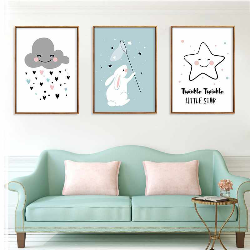 Childish Painting Home Decoration for Kids Nordic Wall Pictures for Living Room Rabbit Cloud Canvas Art Star Girl Kindergarten