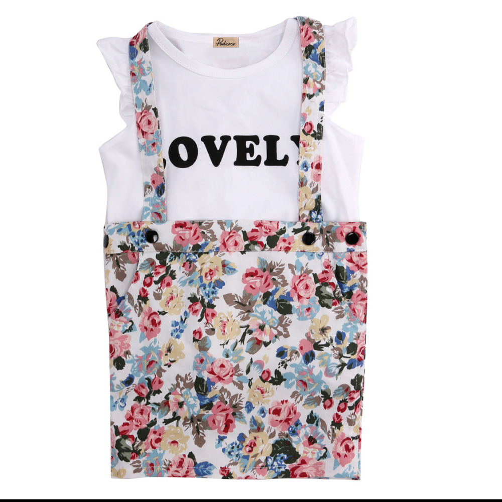 2016 Fashion Kids Girls Short Fly Sleeve White T-shirt+Strap Floral Skirt Overalls Dress Outfits Set Two-piece