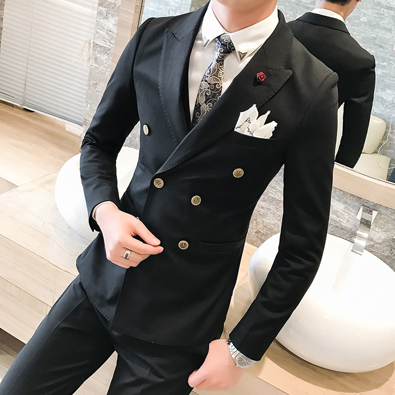 2018 Spring New Men's Slim Suit Business Casual Solid Color Professional Wear Fashion Temperament British Style Trend Clothing