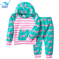 M&F 2017 Spring Clothes Set Fashion Children Girls Clothing Sports Wear Long Sleeve Cartoon Hoodies Kids Clothing Sets For Boys