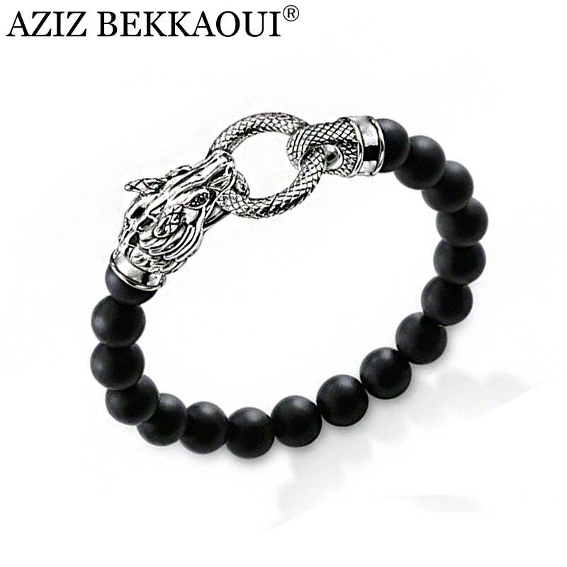 AZIZ BEKKAOUI uomo In Rilievo Bracelet & Bangle Vintage Argento Testa di Drago Braccialetti di Fascino Nero Onyx Bead Bracciali per le Donne