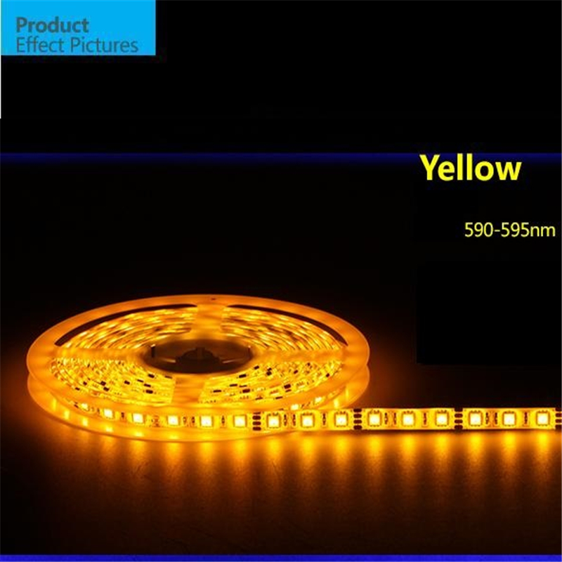 5m/roll Free shipping LED strip SMD 5050 LED softstrip 12V DC 12W/M Yellow color IP65 Waterproof