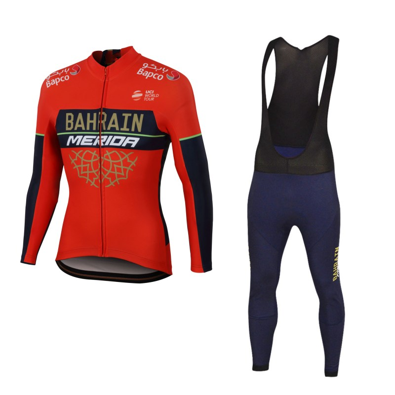 all uci teams 2018 winte fleece pro team bahrain merida cycling jersey set mens warmer Bicycle maillot MTB bike clothing gel pad asgharali lulutal bahrain