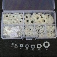 Nero Bianco di Nylon Rondella Distanziale Guarnizioni Guarnizione Di Plastica Anello Piatto Set Assortimento Kit M2 M2.5 M3 M4 M5 M6 M8