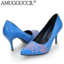 2017 New Plus Big Size 33-40 Blue Light-blue Black Pink Fashion Casual High Heel Girls Females Lady Womens Shoes Pumps D1045