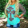 Mujeres de La Manera Con Encanto Girls Fit Empalme Camiseta Impresa O-cuello de Tres Cuartos de La Manga Del Leopardo Ocasional Top Verde