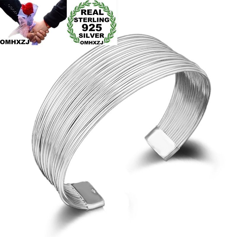 OMHXZJ Wholesale Personality Fashion OL Woman Girl Party Gift Silver Multi Lines 925 Sterling Silver Cuff Bangle Bracelet BR143OMHXZJ Wholesale Personality Fashion OL Woman Girl Party Gift Silver Multi Lines 925 Sterling Silver Cuff Bangle Bracelet BR143