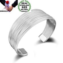 OMHXZJ Wholesale Personality Fashion OL Woman Girl Party Gift Silver Multi Lines 925 Sterling Silver Cuff Bangle Bracelet BR143