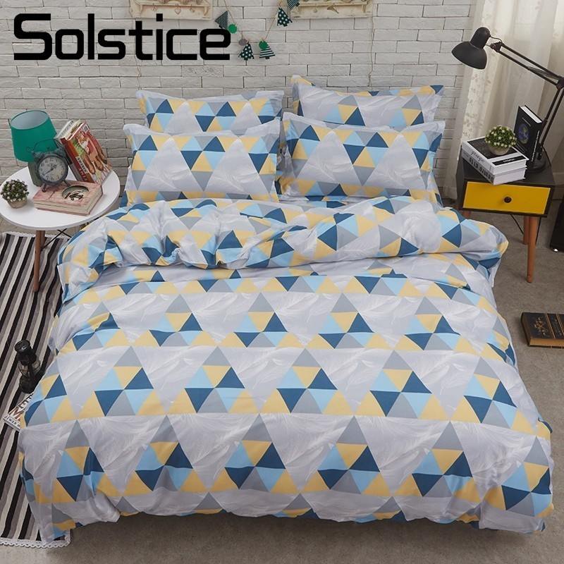 Solstice Home Textile Triangle Colorfu Duvet Quilt Cover Pillowcase Bed Sheet Kid Teen Boy Girl Bedding Set King Twin Linen Suit