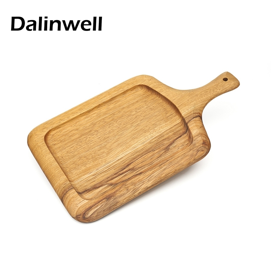Eco friendly Dinnerware Acacia Wood Baking Sishi Bread Pizza Cutting Chopping Board Paddle Divided Serving Dish