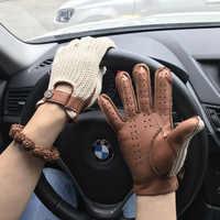 Herren Wildleder Leder Handschuhe Zurück Strick Handschuhe Hirschleder NEUE Ungefüttert Nicht-Slip Motorrad Fahren Handschuhe Männlichen Leder Handschuhe