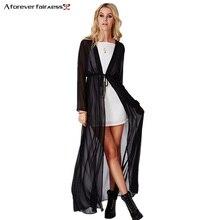 Горячая Распродажа, летняя шифоновая рубашка, женское кимоно с длинным рукавом, топы, повседневное кимоно, тонкий макси шифоновый кардиган, Пляжная рубашка от солнца, AFF006
