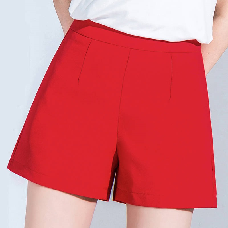 Summer Spring 2019 Women Woman High Waist Red Black White Wide Leg Shorts , Korean Female Womens 3xl Casual Shorts