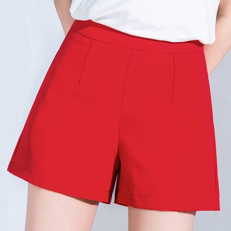 Summer Spring 2019 Women Woman High Waist Red Black White Wide Leg Shorts , Korean Female Womens 3xl Casual Shorts
