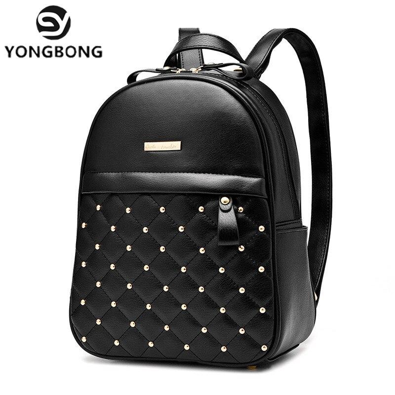 YONGBONG Preppy Style Women Rivet Backpack PU Leather Backpacks Schoolbags for Teenage Girls Female Backpack Rucksack