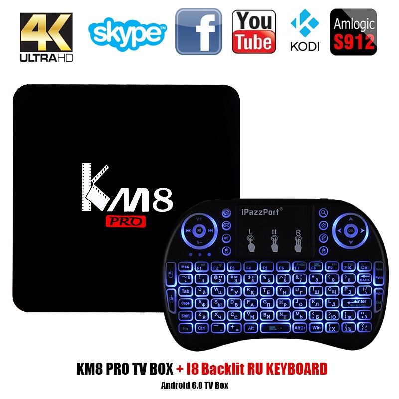 KM8 Pro Smart TV Box Android 7.1 BT 4.0 Amlogic S912 Octa Core 2GB 8GB/16GB Amlogic S912 2.4G/5G WiFi Set-top Box PK X96 A95X