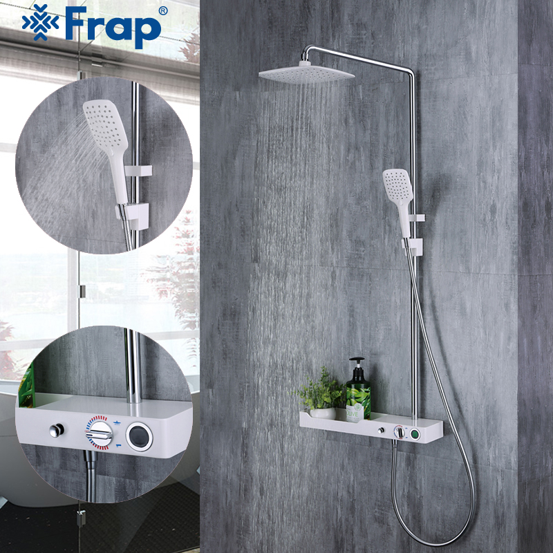 Frap High Quality Bathroom Rainfall Shower Faucet Set Single Handle Mixer Tap With Hand Sprayer Wall Mounted Shower Set Y24007 chrome polished rainfall solid brass shower bath thermostatic shower faucet set mixer tap with double hand sprayer wall mounted